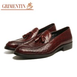$enCountryForm.capitalKeyWord Canada - GRIMENTIN Italian tassel slip-on men loafers shoes fashion formal mens dress shoes 100% genuine leather crocodile style business male shoes