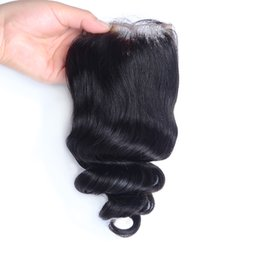 $enCountryForm.capitalKeyWord NZ - Brazilian Loose Wave Closure 4*4 Natural Swiss Lace Closure With Bleached Knots Malaysian Peruvian Indian Top Closure