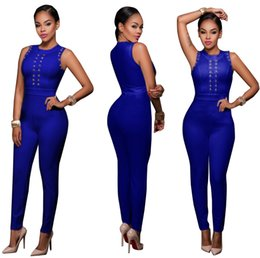 Barato Macacões Grossistas Mulheres-Atacado- Rompers Womens 2017 Fashion Full Sleeveless Bodysuit Mulheres Sexy Slim Jumpsuits Party Overalls Combinaison Femme