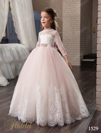 Blush Flower Girl Gowns Canada - Blush Flower Girls Dresses with 3 4 Long Sleeves and Beaded Belt 2017 Pentelei Princess Lace Tulle First Communion Gowns for Little Girls