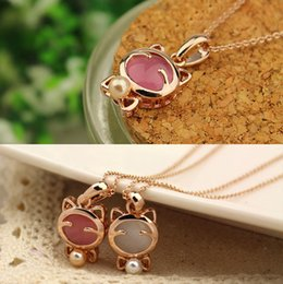$enCountryForm.capitalKeyWord Australia - 1PC Dazzling 18k gold plated Cute Lucky cat eye stone pearl bow necklace C00541