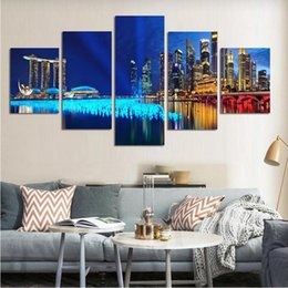Discount night scenery painting - City Night Scenery Modern Fashion HD Print Painting on Canvas Wall Art Pictures Home Decoration 5 Pieces