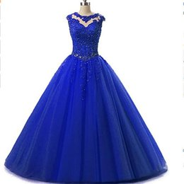 Chinese  2017 Royal Blue Tulle Ball Gown Quinceanera Dresses Sheer Appliqued Lace Real Photo Special Occasion Party Dress manufacturers