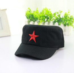 Cotton Navy Canada - Designer Cotton Military Hats With Red Star Adjustable Strapback Mens Womens Vintage Army Cap Cadet Military Patrol Hats Navy Black Green