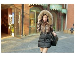 Barato Casaco De Colar De Pele De Leopardo-2016 nova moda 100% Raccoon Fur Collar Duck Down Jacket Mulheres Leopardo Print Coat Medium-long Jacket for Winter Coat YRF020