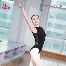 Barato Leotards De Spandex Sexy-Atacado-Meninas Mulheres Lace mangas Turtleneck Dança Leotard Sexy Backless Preto Ginástica Leotard Cotton Spandex Adulto trajes de balé