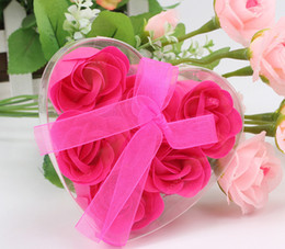 (6pcs = une boîte) Haute Qualité Mix Couleurs En Forme de Coeur Rose Savon Fleur Pour Le Bain Romantique Savon Cadeau Saint-Valentin en Solde