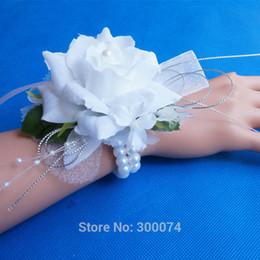 Discount prom flower bracelets - Artificial Silk Rose Decorative Flowers For Decoration Wedding Or Prom Wrist Flower Corsage With Pearl Bracelet Boda Flo