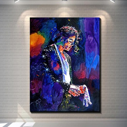 colorful figure Australia - Framed Abstract Colorful Michael Jackson,High Quality Handpainted Modern Portrait Pop Wall Art Oil Painting on Canvas Multi sizes Ab172