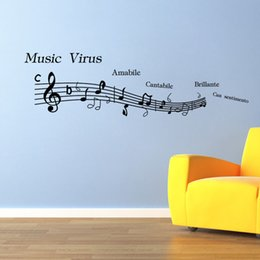 $enCountryForm.capitalKeyWord NZ - 2016 New Music Note Pattern Wall Stickers Home Decor Decoration Art For Wall Removable Waterproof Black 46*57CM