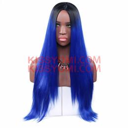 $enCountryForm.capitalKeyWord NZ - Women Synthetic Blue Cheap Fashion Wig Capless Long Straight Synthetic Hair Women Wigs Lolita Drag Party Celebrity Wig