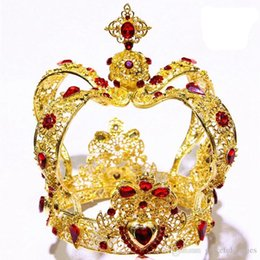 $enCountryForm.capitalKeyWord Canada - Gold Large Wedding Crown Tiaras & Hair Accessories Red Rhinestones King Bridal Accessories Brides Crown Tiaras & Hair Accessories