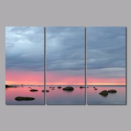 wedding canvas prints NZ - Dream Pink printed 3 pcs Landscape wedding living room Decoration sunset lake Canvas Painting wall hanging home decor unframed