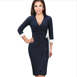 Affaires Féminines Sexy Décontractées Pas Cher-Womens Sexy élégant col V Neck Enveloppé Bureau Belted Bow Parti Striped affaires travail Casual Pencil Robe Livraison gratuite Women S8