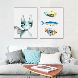 Art Canvas Prints Australia - Modern Abstract Kawaii Animals Cats Fish Canvas A4 Art Print Poster Nursey Wall Pictures Home Kids Room Decor Painting No Frame
