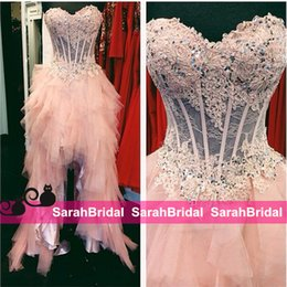 Barato Vestidos De Manga Curta-Blush Pink High Low Sheer Prom Dresses 2016 Corset e Tulle Frontal curto Longo para trás Vestidos formais feitos sob medida Custom Evening New Party Party
