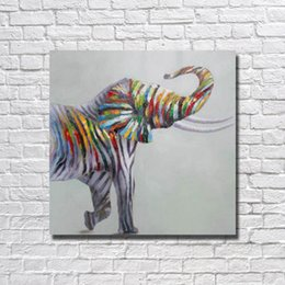 framed wall art sale NZ - Free Shipping Hot Sale Hand made Colorful Elephant Oil Painting on Canvas Wall Art Home Decorative Modern Bedroom Wall Decor No framed