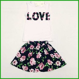 Robes De Style Charmant Pas Cher-Vêtements de vestidos de filles de portraits gratuits pour les robes courtes en couches florales T-shirts sans manche LOVE letters print fashion lovely style hot selling