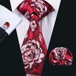 Woven Silk Ties Cufflinks Australia - Classic Silk Mens Neckties Red Tie Sets Floral Mens Ties Tie Hankerchief Cufflinks Sets Jacquard Woven Meeting Business Wedding Party N-1522