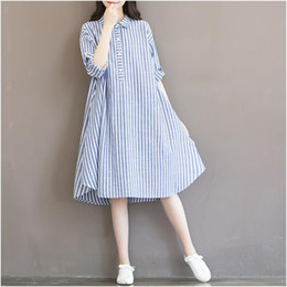 Manches Longues Verticales Pas Cher-Women Dress Plus Size XL Femmes Vêtements Loose Vertical Stripe Autumn Spring Dress Turn Down Collar Long Sleeve Long Shirt Dress Vestido
