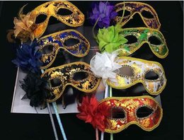 Wholesale new sexy film online – design NEW Venetian Half face flower mask Masquerade Party on stick Mask Sexy Halloween christmas dance wedding Party Mask supplies