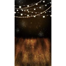 Discount photography backdrops night - Digital Printed Shining Bulbs Glitter Stars Night Photography Backdrops Vinyl Kids Children Photo Background Brown Wood