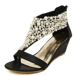 2015 rome shiny beaded wedge sandals low heeled wedding shoes