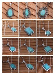 TibeTan sTyle necklace online shopping - Round Tibetan silver turquoise necklace with chain pieces a mixed style fashion women s DIY European Beads pendant necklace GTTQN1