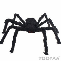black plush spiders Australia - Soft Black Plush peluche Spider Funny Toy Scary Red Eyes for Halloween Decor Toys Party Stage Horror Props Prank Joke Scary Toys