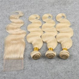 russian hair lace closure Canada - Russian Hair Weaves With Lace Closure 4Pcs lot #613 Body Wave lace Closure 4x4 With Hair Extensions Free Middle Three Part