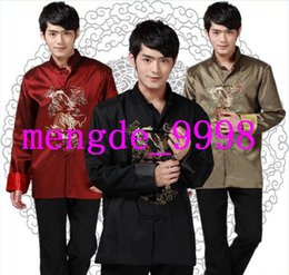 chinese design shirts NZ - Men Tang Suit 3 Color Traditional Chinese Clothing Men Kungfu Shirt Embroider Dragon Design Man Tang Suit Costumes Jackets Outerwear S4000
