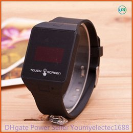$enCountryForm.capitalKeyWord Canada - 2016 Fashion LED Watches Candy Color Silicone Touch Screen Digital Watch Electronic Bracelet Watch mirror Makeup Rubber Watches For Women