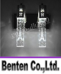 NEW Modern 5W LED Crystal Bubble Wall Lamp Cylinder Shape Column Living Room Mirror Light RGB Warm White Chandelier