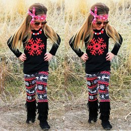 Barato Leggings Dos Cervos Das Meninas-INS Christmas Kids Toddler Girls Clothes Snowflakes T-shirt manga comprida infantil Xmas Deer Calças Leggings Black Homing Chidlren Girl Pajamas