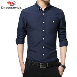 Wholesale Mens Shirts Clothing Canada - Wholesale- DRESSERVICE 2017 New Fashion Oxford Men Casual Shirt Long Sleeve Slim Fit High Quality Cotton Mens Dress Shirts Men Clothes