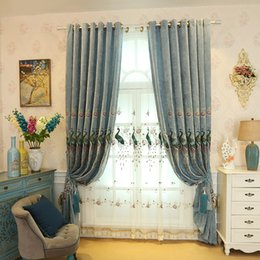 pastoral embroidered curtain peacock pattern refreshing blackout window shades perfect for living room bedroom window decoration - Patterned Curtains