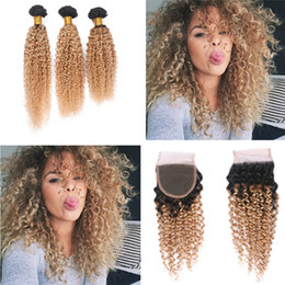 $enCountryForm.capitalKeyWord NZ - Honey Blonde Ombre Kinky Curly Hair Bundles With Lace Closure 1B 27 Hair Bundles With Kinky Curly Closure Free Part For Woman