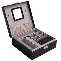 Chinese  Jewelry Box Storage Organizer Case Ring Earring Necklace Mirror PU Coffee New manufacturers
