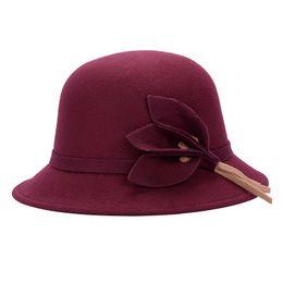 Discount elegant wine - Wholesale- Women's Wide Brim Caps Foldable Summer Beach Sun Hats Elegant Women Fashion Imitation Woolen Hats Cap Wi