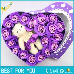 Handmade wedding dolls online shopping - New hot DIY Artificial Soap Rose Flower with Bear Doll Toy Handmade Rose Flowers Soap Flower Gift Box Valentine s Day Christmas Wedding