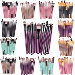 Barato Conjunto De Lábios-MAANGE Pro 15Pcs / Set Makeup Brushes Kit Sombra de olhos Brow Eyeliner Eye Lashes Lip Foundation Power Cosmetic Make Up Brush Beauty Blending Tool