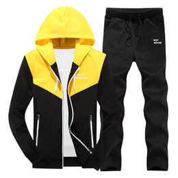 brand sport suit for men UK - Autumn Mens Hooded Sweatshirt Jacket And Pants Sweat Suit Sporting Two Piece Set Brand Clothing Tracksuit Hoodies Set For Male