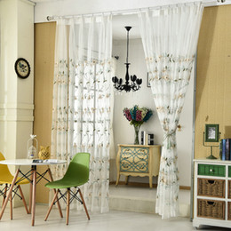 Pastoral Tulle Curtains Embroidered Floral White Modern Curtain For Living Room Bedroom Fabric Drapes Discount
