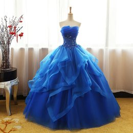 ivory fancy dress NZ - Fancy Royal Blue Prom Dress Ball Gown Quinceanera Dresses Strapless Lace-up Back Organza Layers Tulle Floral Applique with Shining Sequins
