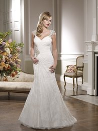Barato Ronald Joyce Vestidos De Luva De Renda-Lace Mermaid Wedding Dress Com Beading Cap Sleeves Sweetheart Decote Ruched 67059 Vestidos de Noiva Ronald Joyce