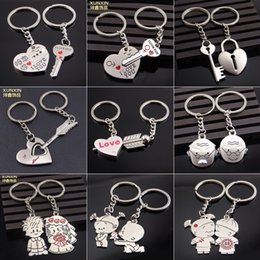 Chinese  New Chinese Wedding Couple Dolls Style Lovers Keychain - Silver 14 styles (Pair) manufacturers