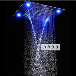 Shower head lamp online shopping - 31 quot Large Rain Shower Set Waterfall LED Recessed Ceiling mount Function Shower Head Remote Control Classic Design x800mm