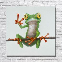 $enCountryForm.capitalKeyWord Canada - Hand painted oil painting of cartoon frog pictures without wooden frame large size canvas art cheap