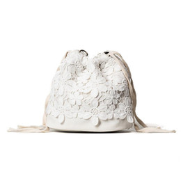 Joker lace online shopping - Fashion Women Bags Summer Drawtring Lase Solid PU Cute Casual Joker Korean Style Black White For Young Lady Backpack Crossbody Bag