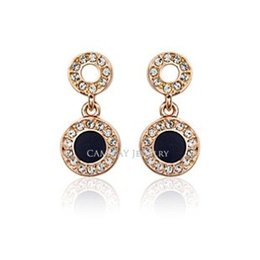$enCountryForm.capitalKeyWord Canada - ITALINA Brand Jewelry Drop Earrings Alloy Gold Plated White And Black Glazed Round Wrapped By Small Cubic Zircons